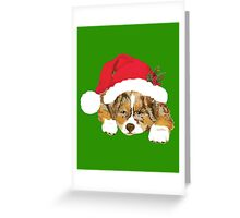 Red Merle Christmas Puppy in a Santa Hat Greeting Card