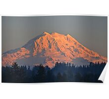 Mount Rainier at Sunset Poster