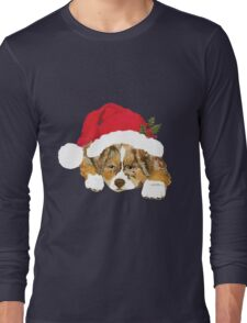 Red Merle Christmas Puppy in a Santa Hat Long Sleeve T-Shirt