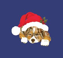 Red Merle Christmas Puppy in a Santa Hat T-Shirt