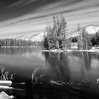 Black and White of Sylvan Lake at Yellowstone by North22Gallery