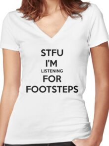 STFU FOOTSTEPS - CS:GO Women's Fitted V-Neck T-Shirt