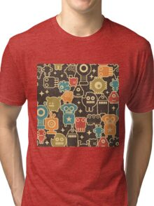 Robots on brown. Tri-blend T-Shirt
