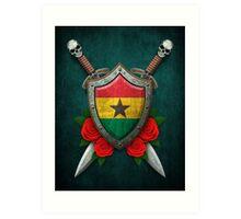 Ghana Flag on a Worn Shield and Crossed Swords Art Print