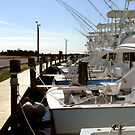 Boats in Oregon Inlet by Robin Lee