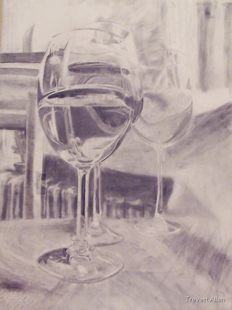 Wine Glasses with Water by Trevett  Allen