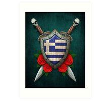 Greek Flag on a Worn Shield and Crossed Swords Art Print