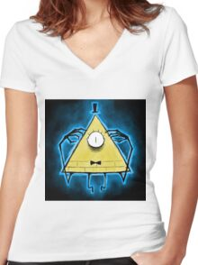 Bill Cipher Another creepy thing from ............. Women's Fitted V-Neck T-Shirt