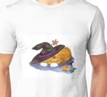 Orange Tiger Kitten and Mouse Don Witch Hats Unisex T-Shirt