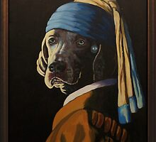 WEIMARANER WITH PEARL EARRING by tomAartist