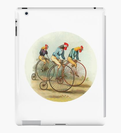Chickens and Roosters on Big Wheel Bikes iPad Case/Skin