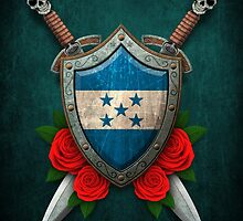 Honduras Flag on a Worn Shield and Crossed Swords by Jeff Bartels