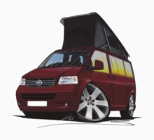 VW T5 California Camper Van Dark Red by Richard Yeomans