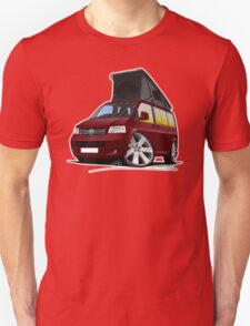 VW T5 California Camper Van Dark Red T-Shirt