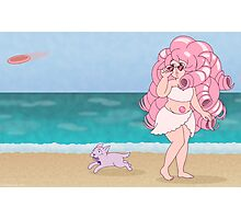 Beach Babe Rose Quartz + Amethyst Puppy Photographic Print