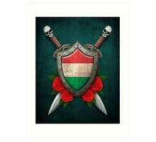 Hungarian Flag on a Worn Shield and Crossed Swords Art Print