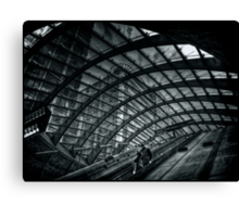 Entrance to Canary Wharf DLR Station BW Canvas Print