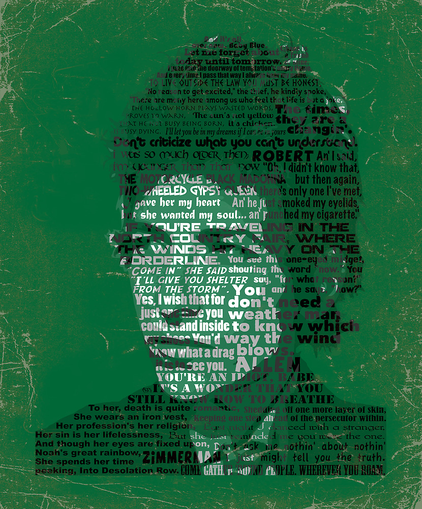 Typographic Icons - Bob Dylan by Ben Rhys-Lewis