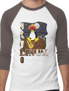 Funny night TUX (linux) Men's Baseball ¾ T-Shirt