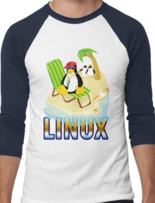 Funny with TUX (linux) Men's Baseball ¾ T-Shirt