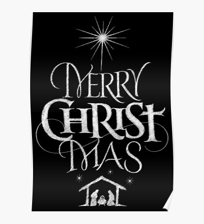 Merry Christmas Religious Christian Calligraphy Christ Mas Chalkboard Jesus Nativity Poster