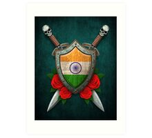 Indian Flag on a Worn Shield and Crossed Swords Art Print
