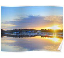 Sunset Sunburst over the River Tees, 5-Feb-2012 AD Poster