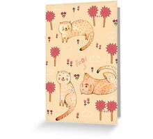 Orange Cat Pattern Greeting Card
