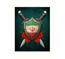 Iranian Flag on a Worn Shield and Crossed Swords Art Print