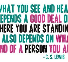 What you see and hear depends a good deal on where you are standing by parable