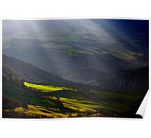Shafts of Light, Lucanian Apennines, Basilicata, Italy Poster