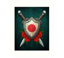 Japanese Flag on a Worn Shield and Crossed Swords Art Print