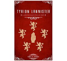 Tyrion Lannister Personal Sigil Photographic Print
