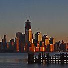 Lower Manhattan skyline at sunset - New York City by michael6076
