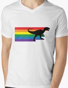 Rainbosaurus rex Mens V-Neck T-Shirt