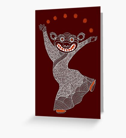 Ghost Tiger Juggler with Red Shoes Greeting Card