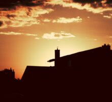 House silhouette in evening Sticker