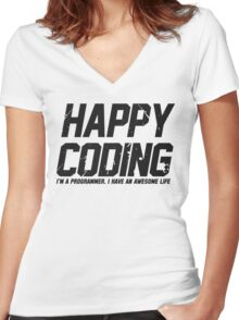Programmer : Happy Coding Women's Fitted V-Neck T-Shirt