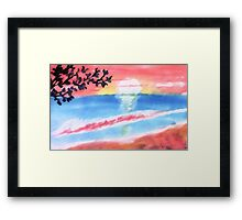Sunset on the waves and beach, watercolor Framed Print