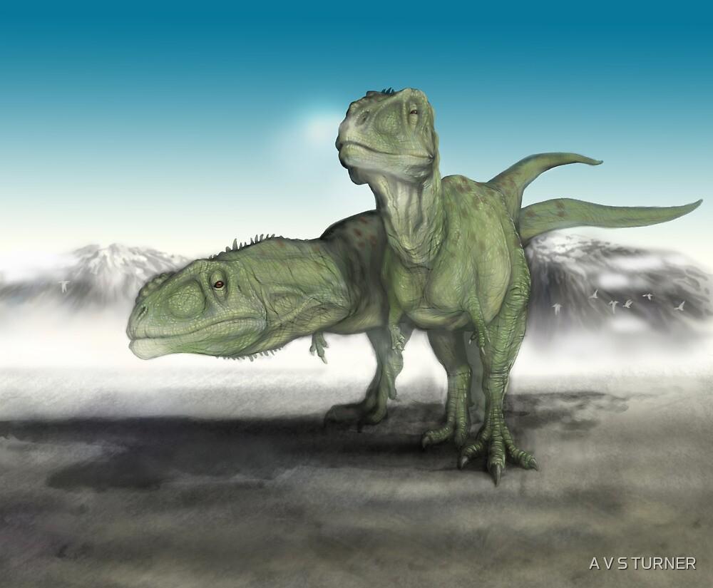 Giganotosaurus (Carcharodontosaurus carolinii) by A V S TURNER