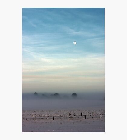 Snow, mist and moon Photographic Print