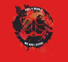 hacker - anonymous - hello world One Piece - Short Sleeve