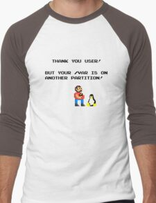 linux tux mario like troll Men's Baseball ¾ T-Shirt