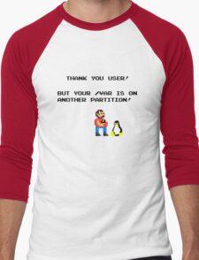 linux tux mario like troll Men's Baseball ¾ T-Shirt