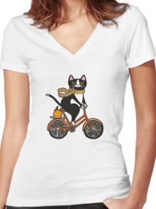 Cat on a Bicycle  Women's Fitted V-Neck T-Shirt