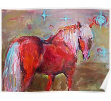 Contemporary Red Horse Painting Svetlana Novikova Poster