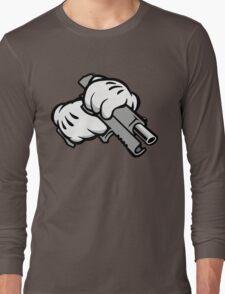 Ghetto Cartoon Hands with Gun Long Sleeve T-Shirt