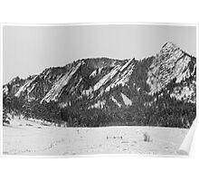 Boulder Colorado Flatirons With Snow BW Poster