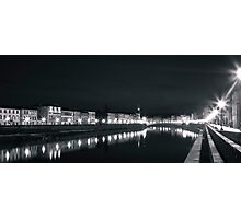 River Arno by night, Pisa, Italy Photographic Print