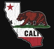 California Bear Flag (Distressed Vintage Design) Kids Tee